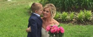 slider son kisses mom bride before myrtle beach wedding ceremony